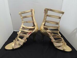 Gold Gladiator Sandals Drag Queen Mens Crossdresser Heels Womans size 11