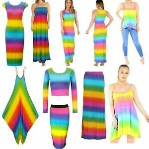 Ladies Women's Rainbow Print Summer Maxi Dress Jumpsuit Skirt Gypsy Cami Vest