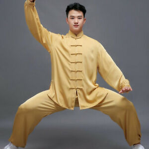 Silk Chinese Kung Fu Tai Chi Uniform Outfit Loose Martial Arts Taichi Sport Suit