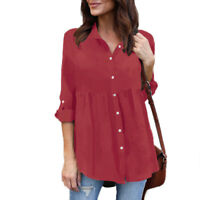 Plus Size Womens V Neck Chiffon Long Sleeve Blouse Casual Loose T Shirt Top Tee