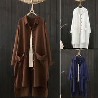 ZANZEA Women Cotton High Low Full Sleeve Long Shirt Tops Casual Split Hem Blouse