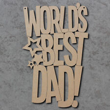Worlds Best Dad Stars Craft Sign - Fathers Day Laser Cut MDF Craft Signs