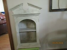 """Wood & Glass Wall Cabinet-2 Shelves-Off White With Gold Distressing-25"""" Tall"""