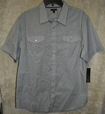 NEW APT. 9 short sleeve shirt Gray XL 2 Pocket Woven button down 100% Cotton