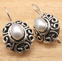 HANDMADE ETHNIC TIBET JEWELRY AAA FRESH WATER PEARL EARRINGS , 925 Silver Plated