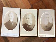 3 Antique Victorian 1800s Stewart & CO Melbourne CDV portrait cabinet photograph