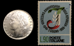 Italy Collection - Unused Italy Stamp & Used 100 Lire Coin - Educational Gift
