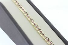 14K Solid Yellow Gold Alternating Ruby and Diamond Square Link Bracelet - 7.25""