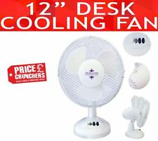 Oscillating Electric Desk Fan 3 Speed Silent Portable Home Office Cooling