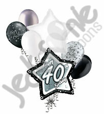 7 pc 40th Elegant Star Happy Birthday Balloon Bouquet Decoration Black & White