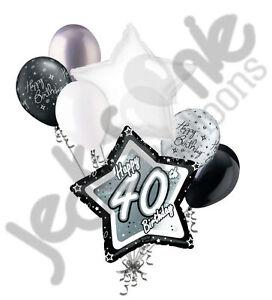 7 pc 40th Elegant Star Happy Birthday Balloon Bouquet Decoration Black & White