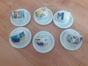 SET 6 Cappucino cups saucers circus design Italian great condition