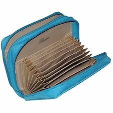 Buxton Wizard Women RFID Aqua Teal Leather Credit Card ID Wallet-Exclusive