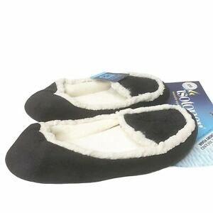 Isotoner Black Velour Loafers S 6-6 Sherpa Terry Slippers Comfort Cozy NEW