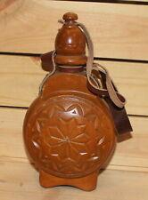 Vintage folk floral carved wood wine/brandy bottle pitcher