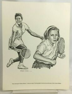 Althea Gibson 60s 7x9 Print Robert Riger Drawing Equitable Life Society Tennis
