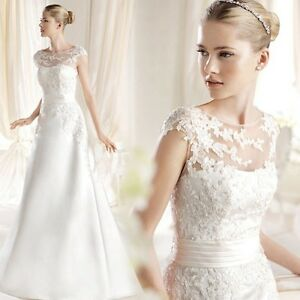 2017 New Illusion Lace Appliqué Satin wedding gown, UK custom made, size 4- 28