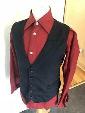 VINTAGE 70'S BLACK PINSTRIPE DRESS MOD DANDY DAPPER WAISTCOAT VEST LARGE