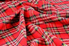 XMAS Red Tartan fabric Burns Night plush tablecloth spread kilt material -5M E