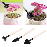 3pcs Set Shovel Rake Spade Wood Handle Metal Head Kids Tool Mini Garden Tool