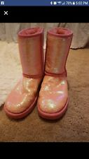 Ugg womens boots pink sequins size 9 RARE