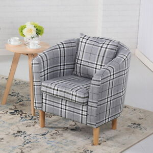 DELUXE TARTAN FABRIC TUB CHAIR ARMCHAIR DINING LIVING ROOM OFFICE HOTEL - GREY
