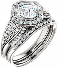 2.14 carat Asscher & round Diamond Halo Engagement 14k White Gold Halo Ring