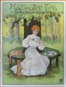 """Mazawattee Tea 1920 Large Advertising Poster - Woman & Dog - 30"""" x 40"""", Litho"""