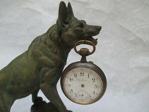 Gros  Porte montre gousset / Régulateur  CHIEN berger régule polychrome Dog