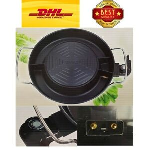 "14"" Mookata Thai Korean BBQ Grill Steak Black Cover Aluminium Electric Set Pan"