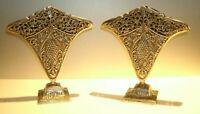 """Vtg Pair Art Deco/Nouveau Pewter Pierced Ornate Napkin Fan Vase 8 1/2"""" T"""