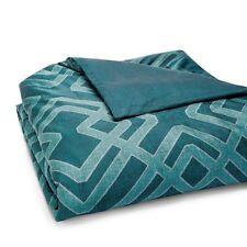 Oake Candor Peacock King Duvet Comforter Cover Emerald Green Geometric New $330