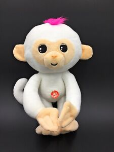 """Fingerling Talking White Monkey 11"""" Soft Toy With Pink Hair & Poseable Arms"""