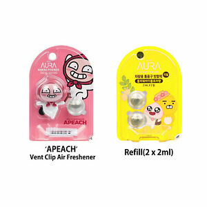 Kakao Talk Friends Ver.2 APEACH Characters Car Vent Clip Air Freshener + Refill