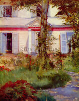 HOUSE IN RUEIL BY EDOUARD MANET ARTIST PAINTING REPRODUCTION HANDMADE OIL CANVAS