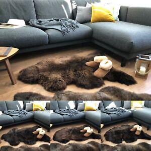 Natural Sheepskin Rug Large. Very fluffy and soft. Shaggy sheep. Natural brown.