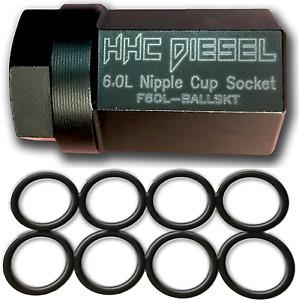 """Ford 6.0L ~HHC Diesel~ Nipple Cup Socket Kit: 1/2"""" Drive Impact Socket & 8 Seals"""