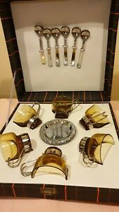 Set of 6 Vintage amber glass cups &metal handler &geometric pattern MD in ITALY