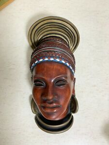 Achatit Face Mask Wall Mount Made in Germany. Mid Century Modern, African Lady