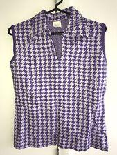 Vintage 1960s 1970s Sears Womens Sleeveless Collar Top Shirt Houndstooth Sz 14