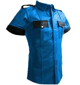 Mens POLICE SHIRT BLUE LEATHER UNIFORM VERY HOT GENUINE REAL