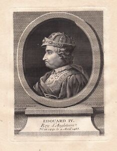Portrait XVIIIe Edouard IV York Guerre Deux Roses Tewkesbury Wars Of the Roses