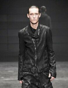 Julius Black Covered Neck Lamb Leather Rider Jacket 397BLM9 size 1