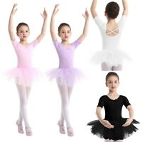UK Girls Ballet Dance Dress Kids Leotard Skating Tutu Skirts Dancewear Costume