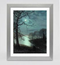 Framed print - Grimshaw Watching a Moonlit Lake fine art print in polcore frame