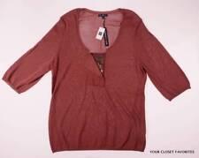 New GAP Women's size XL Knit Sweater Top Elbow Sleeved Dark Orange Flap Detail