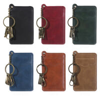 Pocket Business Keychain Solid Card Holder Leather ID Credit Case Small Wallet