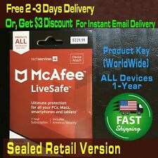 Sealed Retail McAfee LiveSafe 2020 Unlimited Devices 1 Year