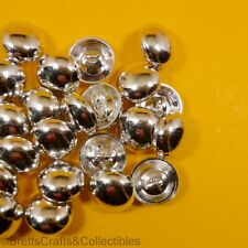 "Shiny Silver ""Cuff"" Dome Metal Buttons - Shank Buttons - 24 per bag - 10mm x 4mm"