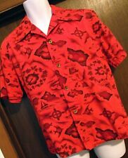 ATOMIC Vtg 1960s Ui Maikai Mens Hawaiian Shirt Red Planes Surfing Fish Names